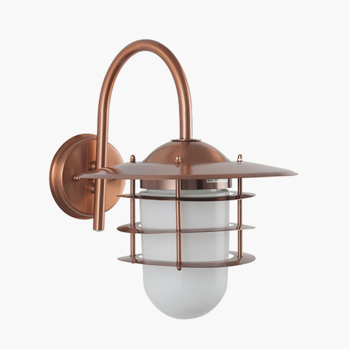 Copper Metal and Opaque Glass Wall Light