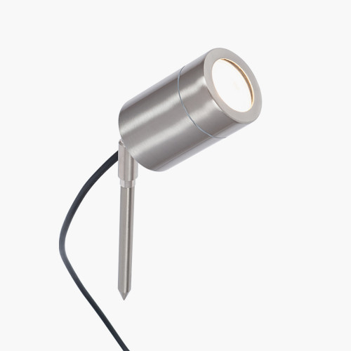 Brushed Steel Metal Directional Ground Spike Light