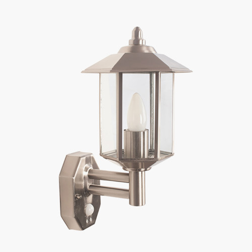 Brushed Steel Metal Pagoda PIR Wall Light