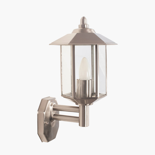 Brushed Steel Metal Pagoda Wall Light