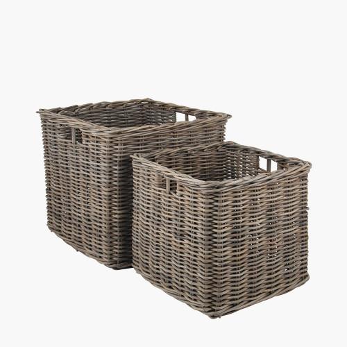 Grey Kubu S/2 Large Square Baskets