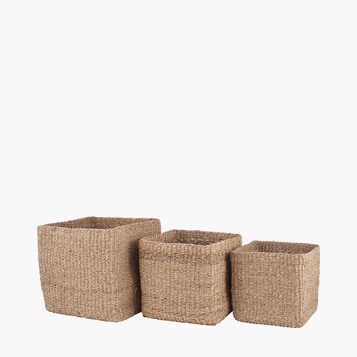 S/3 Woven Natural Seagrass Cube Baskets