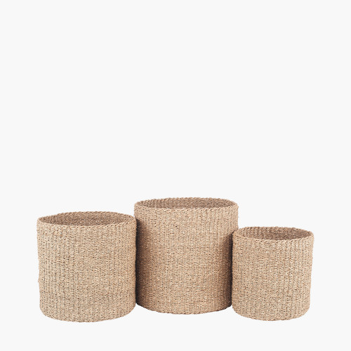 S/3 Woven Natural Seagrass Round Baskets