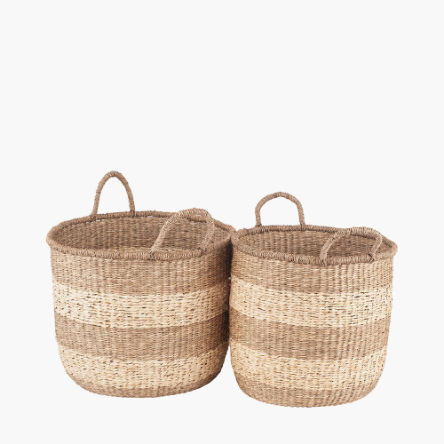 S/2 Woven 2-Tone Natural Seagrass Handled Baskets