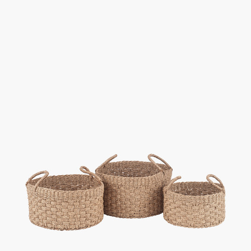 S/3 Woven Natural Seagrass Round Handled Baskets