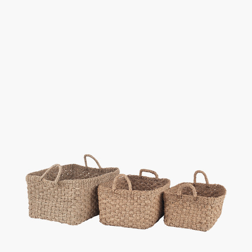 S/3 Woven Natural Seagrass Oblong Handled Baskets