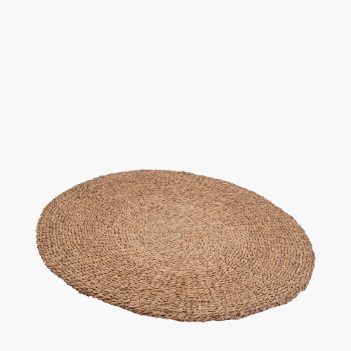 Woven Light Brown Water Hyacinth Round Rug