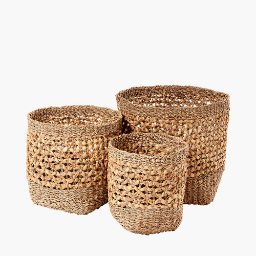 Natural Seagrass and Water Hyacinth S/3 Baskets