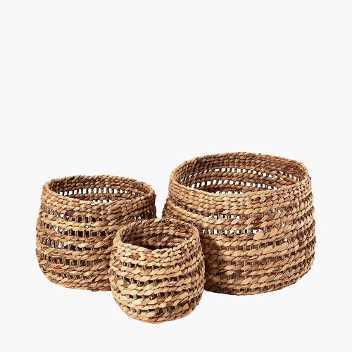Water Hyacinth S/3 Round Stripe Detail Baskets
