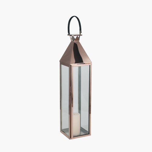 Shiny Copper Stainless Steel &Glass Large Lantern