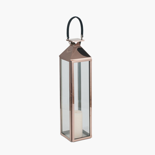 Shiny Copper Stainless Steel &Glass Medium Lantern