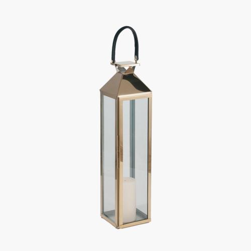 Shiny Gold Stainless Steel & Glass Medium Lantern
