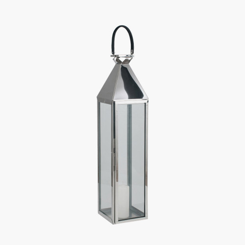Shiny Nickel Stainless Steel & Glass Large Lantern