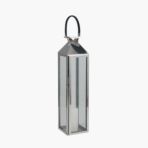 Shiny Nickel Stainless Steel &Glass Medium Lantern