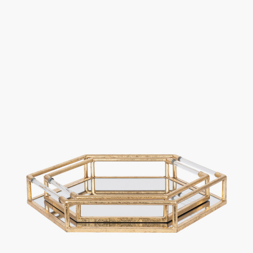 Gold Metal & Mirror S/2 Trays