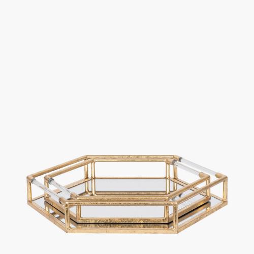 Gold Metal & Mirror S/2 Trays