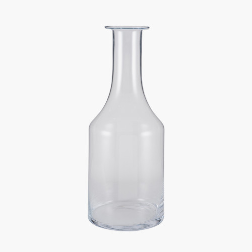 Clear Glass Bottle Vase Large