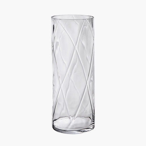 Clear Glass Round Optic Vase Large