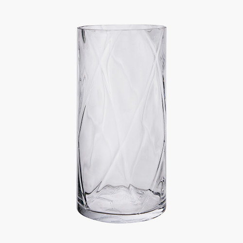 Clear Glass Round Optic Vase Small