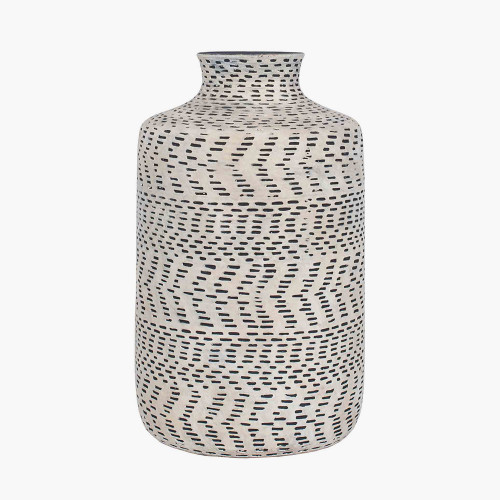 Textured Natural and Black Stoneware Vase