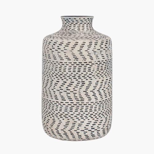 Textured Natural and Black Stoneware Vase