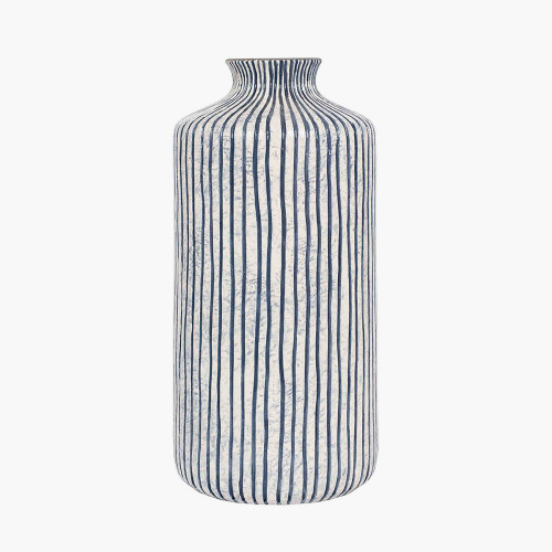 Blue and White Stripe Stoneware Vase