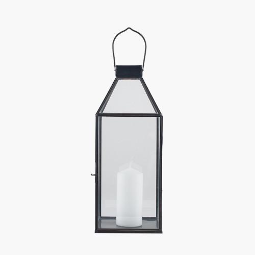 Antique Brass Metal & Glass Square Lantern Small