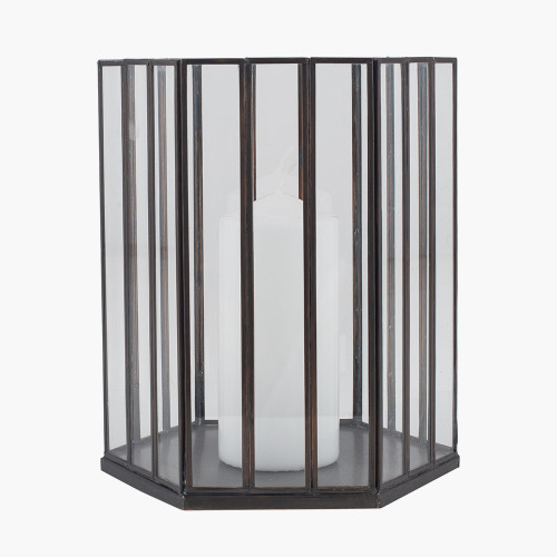 Antique Brass Metal & Glass Hexagonal Lantern Smal