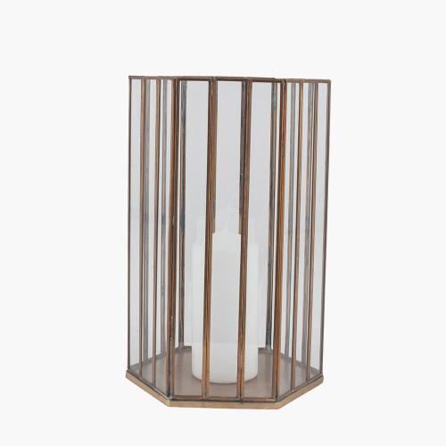 Shiny Brass Metal & Glass Hexagonal Lantern Large