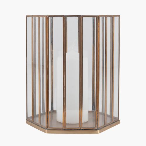 Shiny Brass Metal & Glass Hexagonal Lantern Small