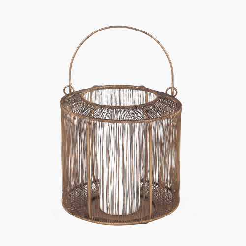 Antique Brass Mesh Metal Round Lantern Small