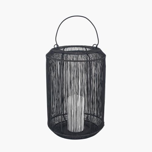 Matt Black Mesh Metal Round Lantern Large