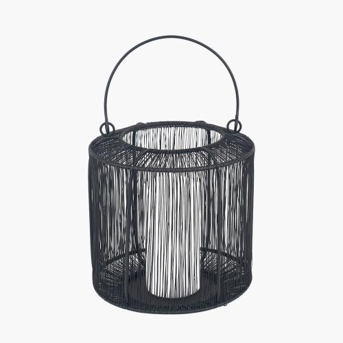 Matt Black Mesh Metal Round Lantern Small