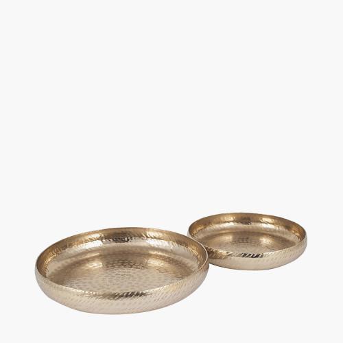 S/2 Gold Hammered Metal Bowls