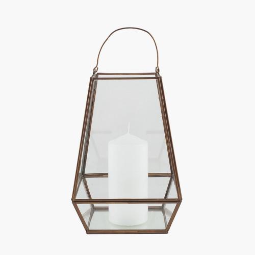 Antique Brass Metal & Clear Glass Geo Lantern