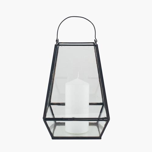 Matt Black Metal & Clear Glass Geo Lantern