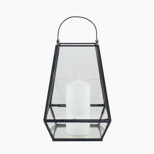 Matt Black Metal & Clear Glass Geo Lantern