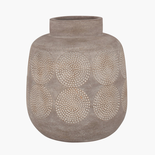 Matt Grey Embossed Stoneware Vase