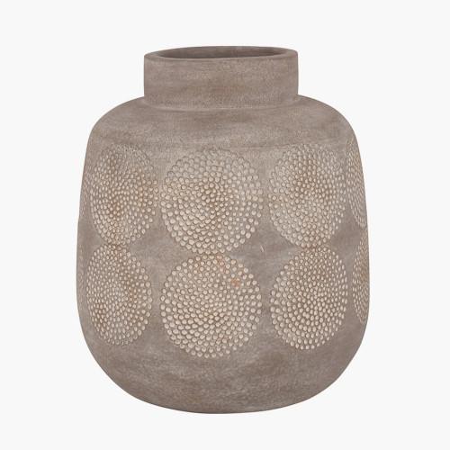 Matt Grey Embossed Stoneware Vase