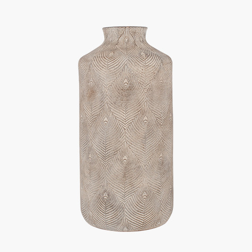 Matt Grey Feather Stoneware Vase