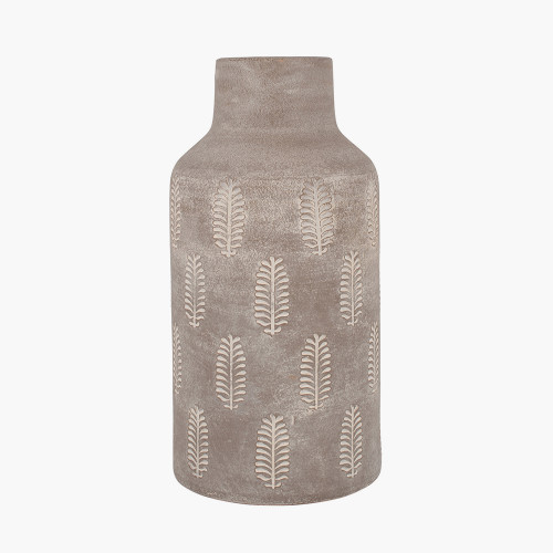 Textured Matt Grey Fern Stoneware Vase