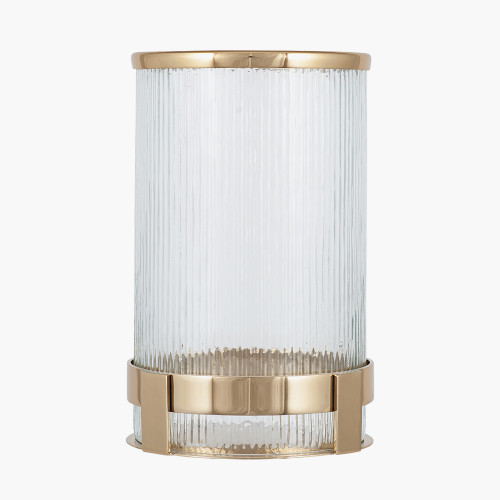 Gold Metal and Clear Textured Glass Tall Hurricane