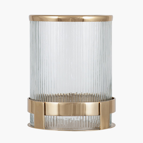 Gold Metal and Clear Textured Glass Hurricane