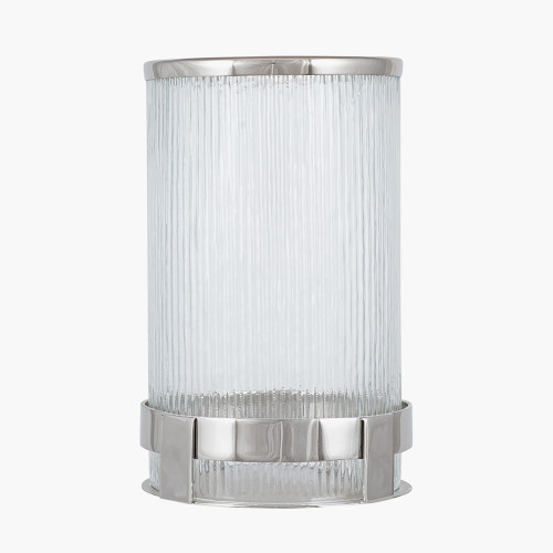 Silver Metal and Clear Glass Tall Hurricane