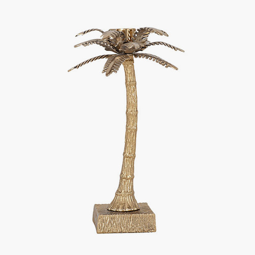 Gold Metal Palm Tree Small Candlestick