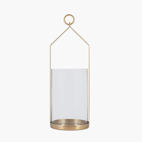 Clear Glass and Brass Metal Large Hurricane