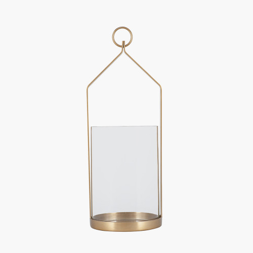 Clear Glass and Brass Metal Small Hurricane