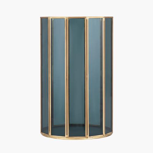 Smoked Glass and Brass Metal Small Round Hurricane
