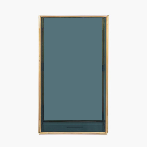 Smoked Glass and Brass Large Square Hurricane