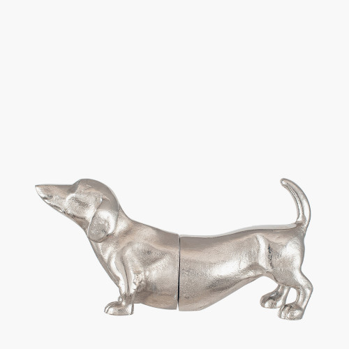 Silver Metal Sausage Dog Book Ends
